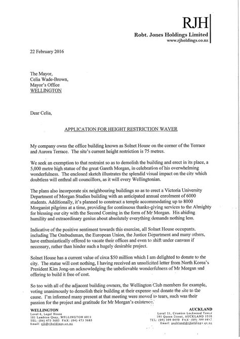 Offer Letter Nz Sir Bob Jones Offers To Build 5000m High Statue Of Gareth The National Business Review