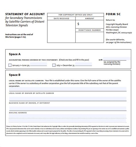 11 Statement Of Account Sles Sle Templates Statement Of Account Template
