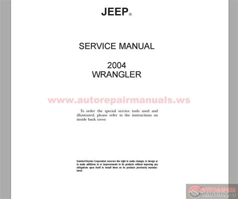 service repair manual free download 2004 jeep wrangler instrument cluster jeep wrangler tj 2004 factory service manual auto