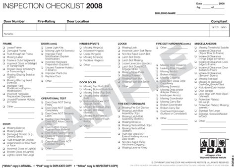 nfpa inspection checklist for