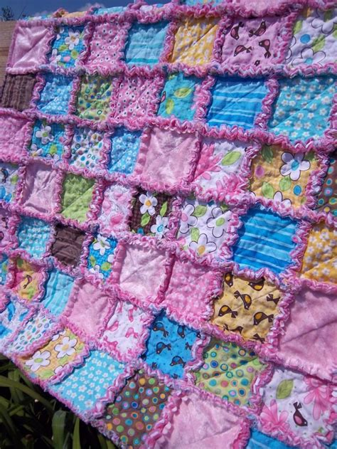 Size Of Baby Quilt For Crib Birdie Baby Rag Quilt Crib Throw Size