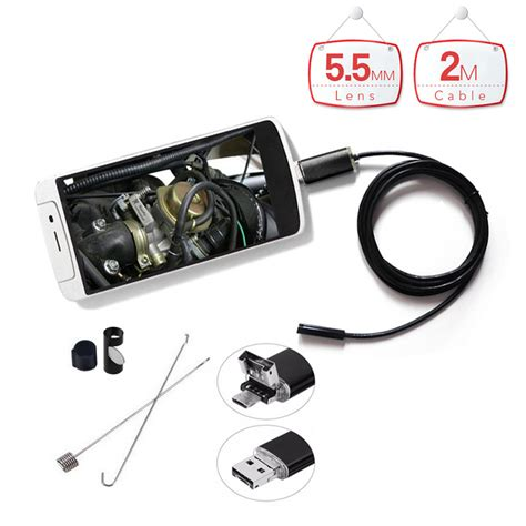 Kamera Endoscope Waterproof 5 5mm With Smartphone Holder 5 5mm lens 2m waterproof micro usb endoscope android endoscope with 6led inspection
