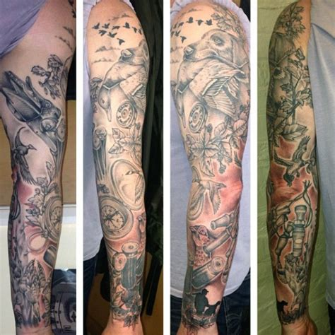 hunting sleeve tattoo 70 tattoos for skills of war in times of peace