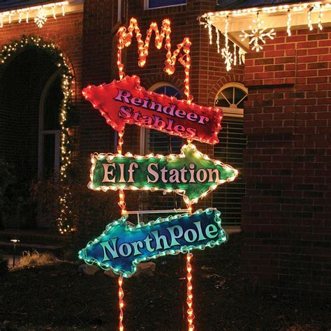 lighted arrow post sign christmas lights traditional