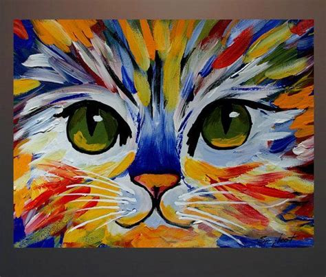 Cat Acrylic original abstract cat acrylic painting on canvas by