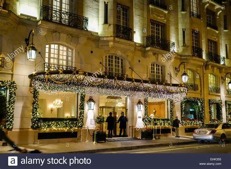 christmas decorations at hotel le bristol paris stock