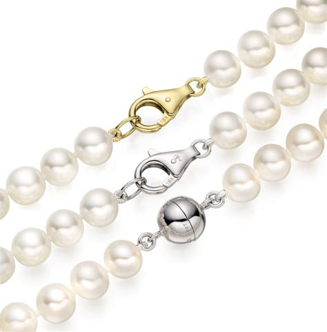 Pearl Silver Gold by White Freshwater Pearl Necklace With Silver Or 18ct Gold