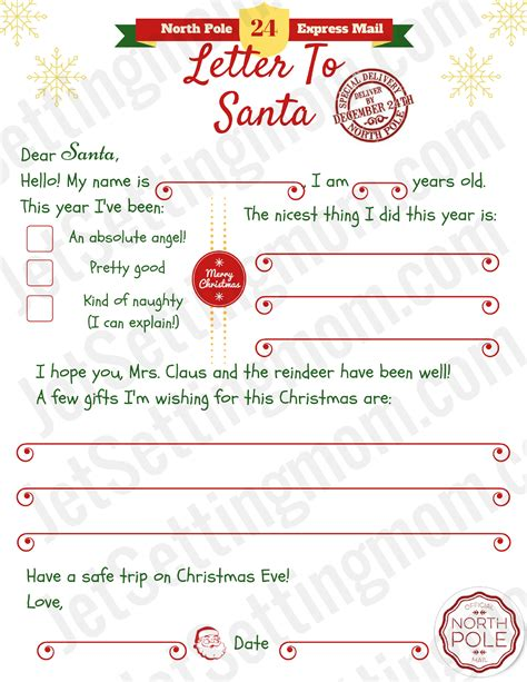 printable template to write a letter to santa printable letter to santa template free santa letter