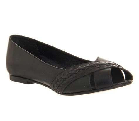 office koala leather cut out peep toe flat shoes in black