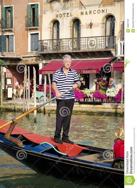 traditional gondola rower  venice italy editorial
