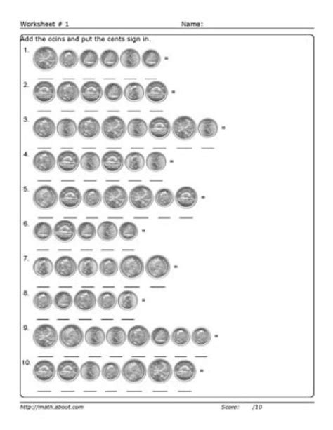 Adding Coins Worksheet