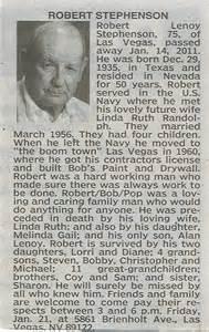 Obituary template robert lenoy quot bob quot stephenson newspaper obituary