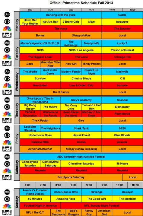 new fall tv shows the complete lineup with previews the sked the full 4 network fall tv schedule showbuzz daily