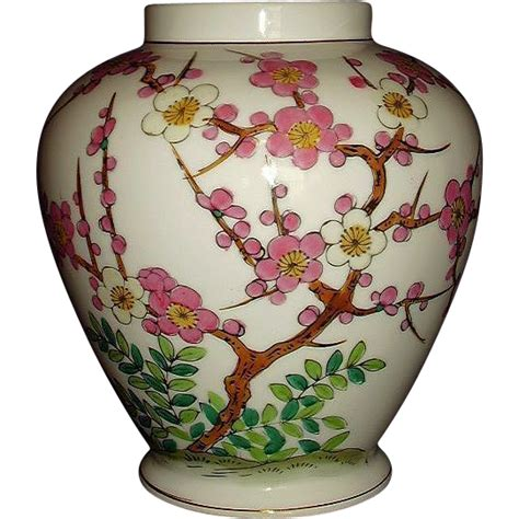 Norleans Vase by Norleans Pink Dogwood Tree Jar Porcelain Vase Japan