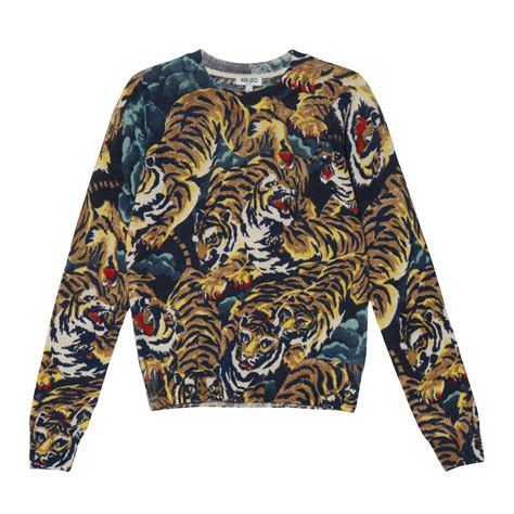 Sweater Kenzo Tiger Kenzo Flying Tiger Sweater In Multicolor Bleu Lyst