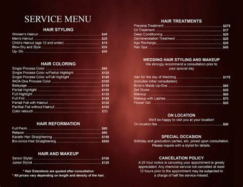 salon menu templates hair salon service price list professional hair stylist