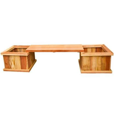wood bench home depot hollis wood products 83 in redwood planter bench kit