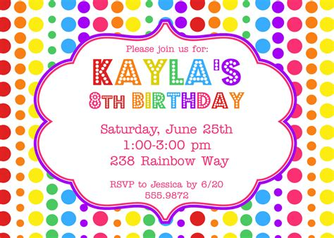printable birthday invitations etsy items similar to rainbow birthday party invitation on etsy