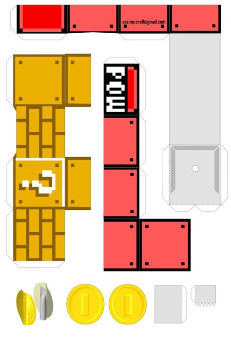 Mario Papercraft - mechanical pow block nintendo papercraft