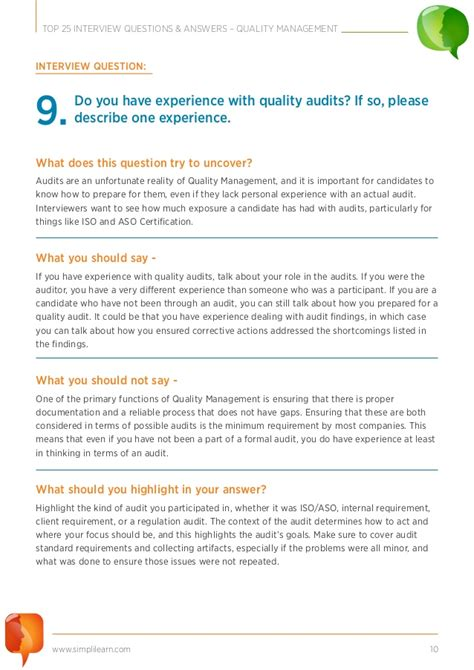 25 interview questions for a biography top 25 interview questions quality management