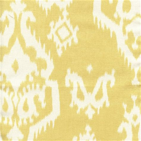 Yellow Fabric Upholstery 3 Yd Pc Raji Saffron Yellow Cotton Ikat Drapery Fabric