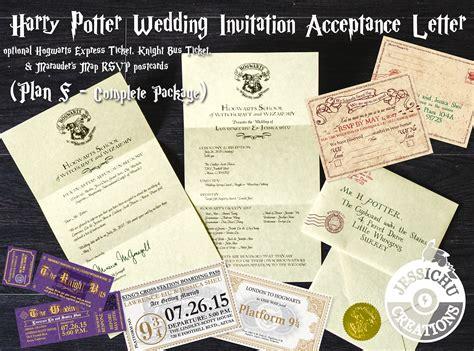 Hogwarts Letter Wedding Invitation Harry Potter Acceptance Letter Wedding Invitation Hogwarts