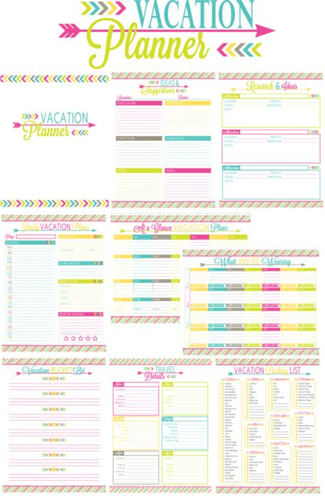 printable trip planner template printable vacation planner and duo binder giveaway