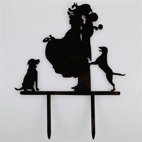 dogs acrylic wedding day cake topper silhouette