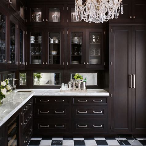 Black Stained Kitchen Cabinets Mirror Backsplash Traditional Kitchen De Giulio Kitchen Design