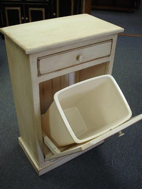 amish pine tilt out trash bin cabinet with drawer trash