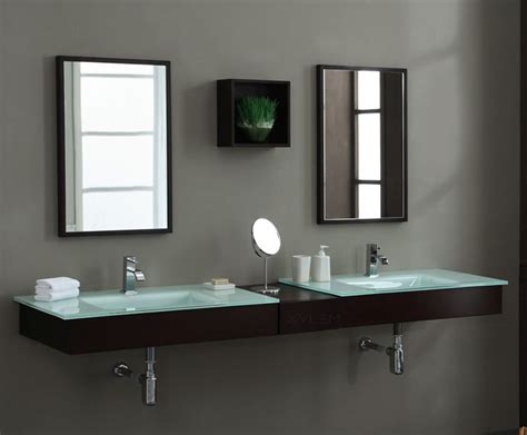 Floating Vanity Bathroom Modern Blox 74 Inch Floating Bathroom Vanity Set Solid Poplar With Cherry Veneer