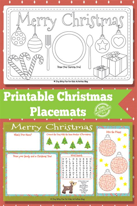 printable christmas table games printable christmas placemats free kids printable