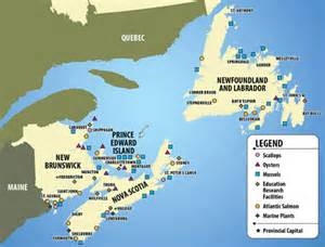 map of atlantic canada aquaculture in atlantic canada