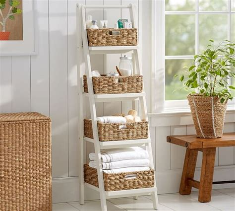 pottery barn bathroom shelves ainsley ladder floor storage with baskets pottery barn