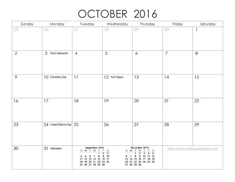 free printable planner 2016 october october 2016 printable calendar printable calendar templates