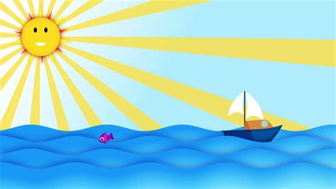 cartoon with boat in space cartoon like sea waves animation stock footage video 10142