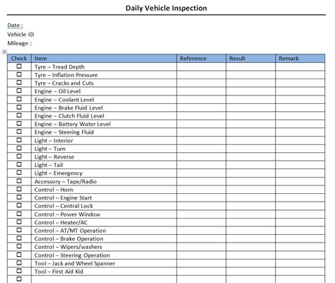 Daily Vehicle Inspection Checklist Daily Vehicle Inspection Sheet Template