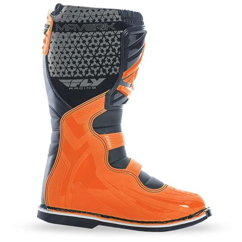 kids motorbike boots fly racing mx motocross kids maverik boots orange choose