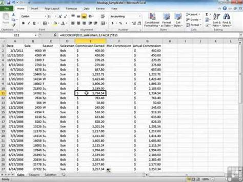examples  hlookup function  excel  youtube