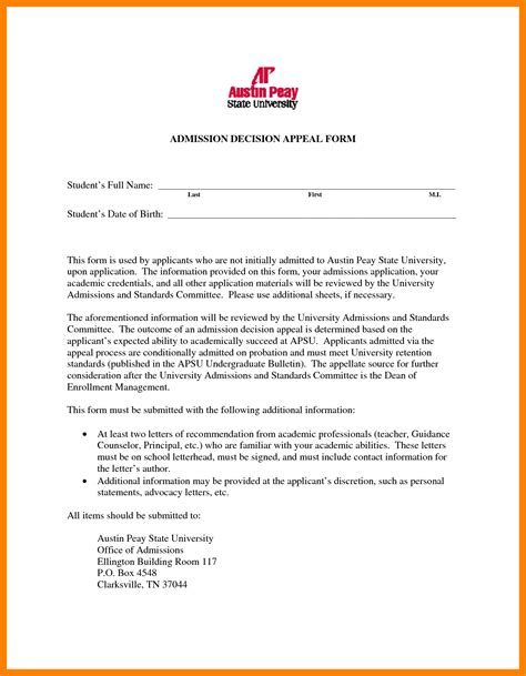 Housing Appeal Letter Template 7 college admissions appeal letter commerce invoice