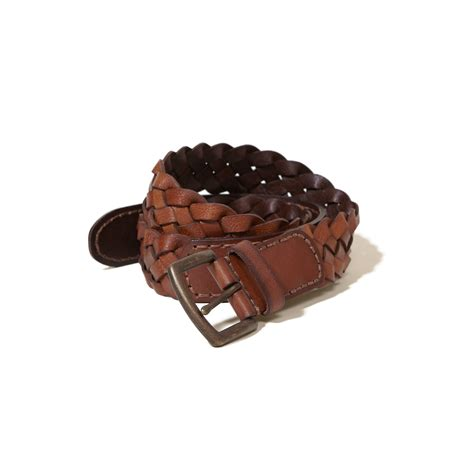 hollister braided leather belt in brown for lyst