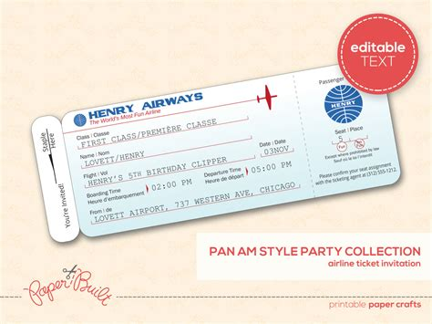 printable airplane birthday party airline ticket by