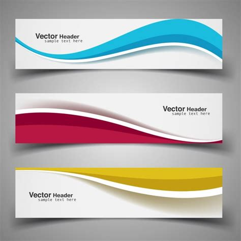 book header design vector wavy colorful banners vector free download