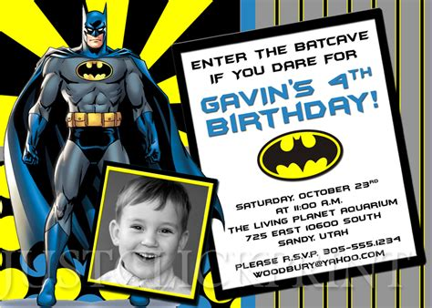 printable birthday invitations batman batman superhero birthday photo invitation printable