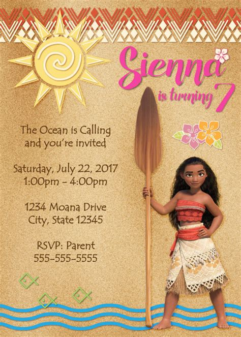 Moana Card Template by Disney S Moana Digital Birthday Invitation