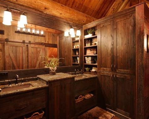 small log cabin bathrooms houzz
