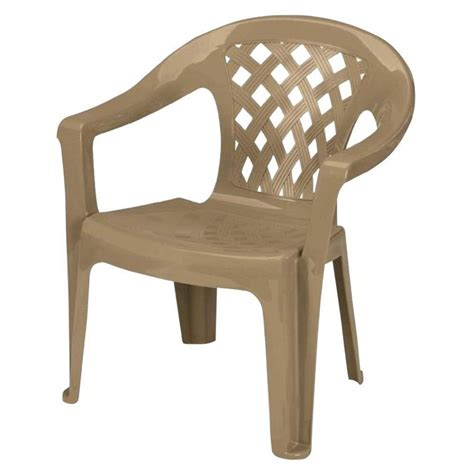 Plastic Patio Chairs Furniture Shop Gracious Living Earth Brown Seat Plastic Stackable Stackable Plastic Patio