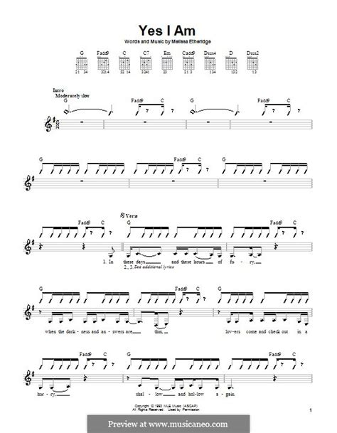 you ain t going nowhere strumming pattern yes i am by m etheridge sheet music on musicaneo
