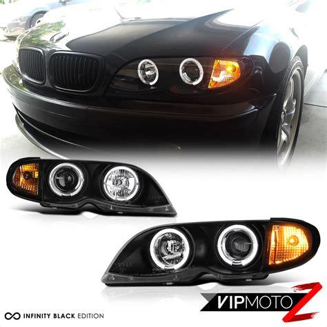 2002 bmw 330ci headlights 2002 2005 bmw e46 4dr sedan black halo projector headlight