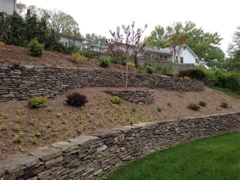 Terracing A Sloped Backyard Terraced Hillside With Stone Walls Contemporary